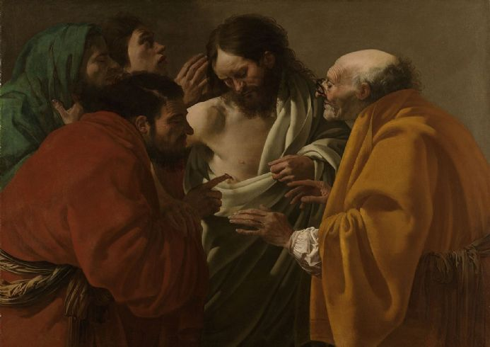 Brugghen, Hendrick Ter: The Incredulity of Thomas. Fine Art Print/Poster. Sizes: A4/A3/A2/A1 (004029)